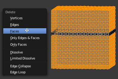 Inverser la sélection (Ctrl + I) puis l'effacer (touche X - Faces)