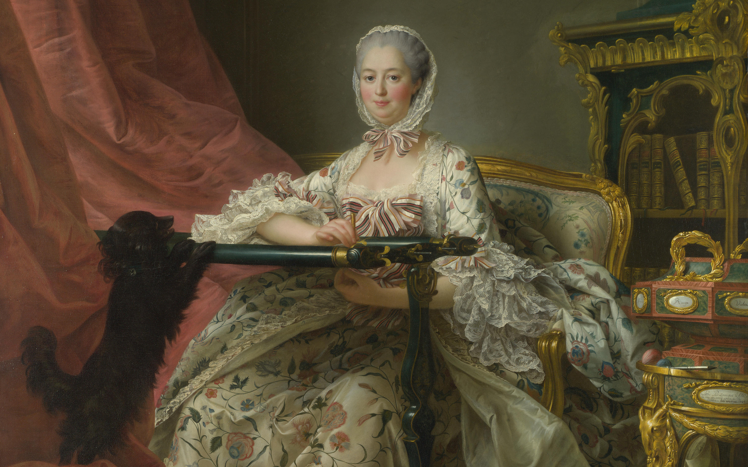 Лондонская Национальная галерея, мадам де Помпадур на нее Тамбур кадров, madame de pompadour at her tambour frame, Франсуа-Hubert Drouais, Francois-Hubert Drouais