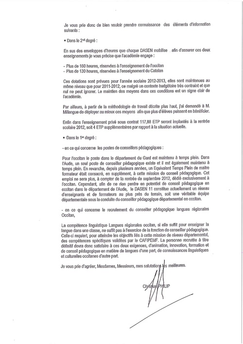 Courrier du recteur Philip suite au CALR du 28 juin