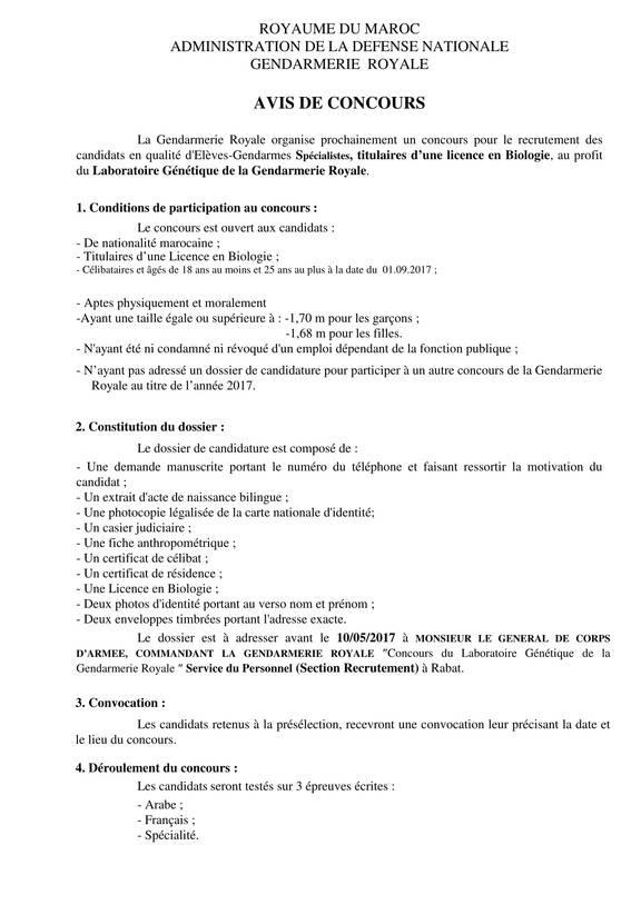 AVIS DE CONCOURS  - Laboratoire Génétique de la Gendarmerie Royale