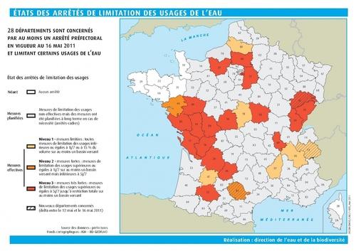 Carte restrictions d'eau