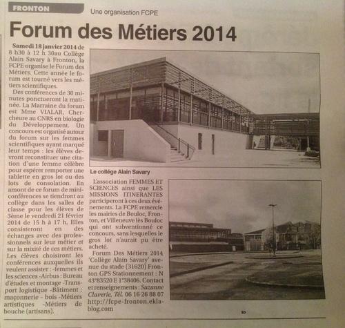 FORUM DES METIERS 2014