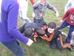Séance de rugby boueuse