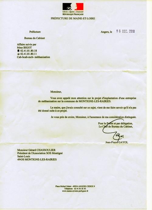 Courrier de la Préfecture du 16.12.2010