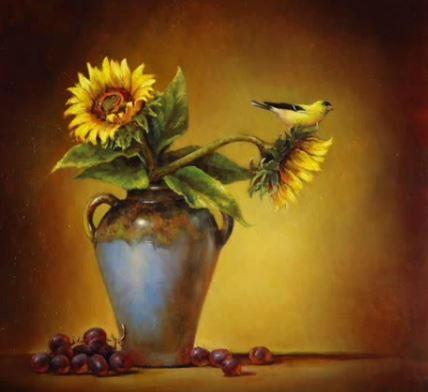 Dessin et peinture - vidéo 2009 : Le bouquet de fleurs aux deux tournesols - nature morte à l'huile ou à l'acrylique.