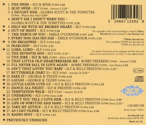 """Sly & The Family Stone : CD """" Precious Stone In The Studio With Sly Stone 1963-1965 """" Ace Rhino Records CDCHD 539 [ UK ]"""