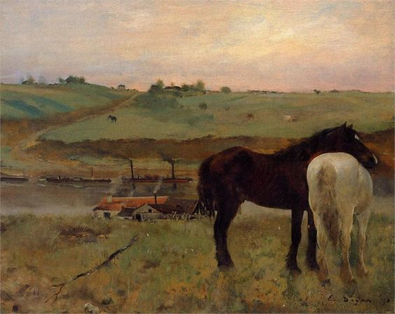 "chasingtailfeathers:  "" Edgar Degas - Horses in a Meadow, 1871  National Gallery of Art, Washingon, DC  """