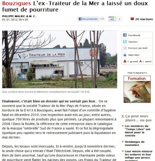 Le traiteur de la mer vend du poisson pourri dans l'Hérault