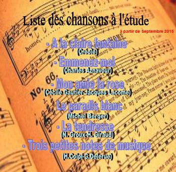 Liste des chants