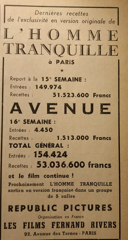 BOX OFFICE PARIS DU 20 FEVRIER 1953 AU 26 FEVRIER 1953