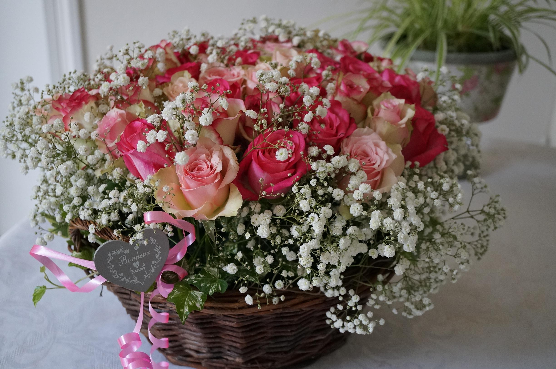 Une corbeille de 50 roses pour les 50 ans d 39 une amie for Bouquet de fleurs 50 ans