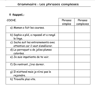 Phrases simples / phrases complexes