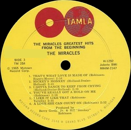 "The Miracles : Album "" Greatest Hits From The Beginning "" Tamla Records TM 254 [ US ]"