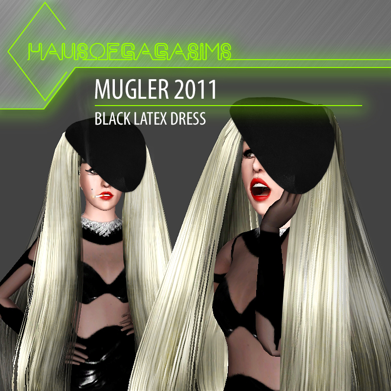 MUGLER 2011 BLACK LATEX DRESS