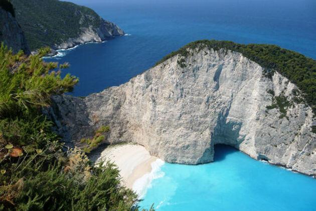 Dégradé de bleus dans les îles Ioniennes