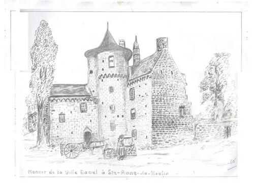 Dessin au crayon .  St Anne du Houlin d'après carte postale .