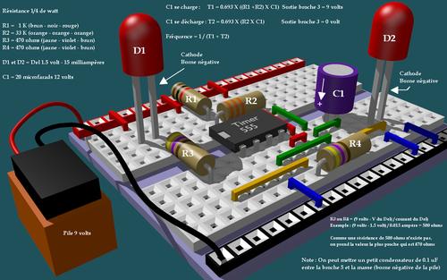 Circuit clignotant avec 555 sur protoboard
