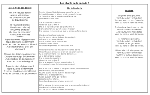 Paroles des chants de la période 5 - GS/CE1