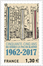 Le 15 mars 2017 La Poste a dévoilé   un timbre commémoratif pour les 55 ans  du cessez-le-feu en Algérie