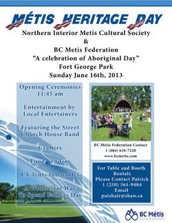 journée du patrimoine MÉTIS le 16 juin 2013 à PRINCE GEORGE, enCOLOMBIE-BRITANNIQUE