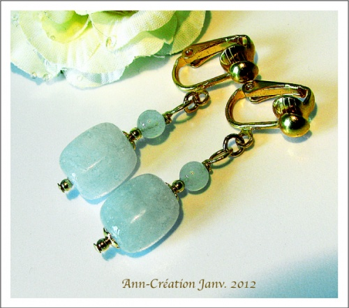 Boucles Clips Aigue-Marine / Plaqué Or