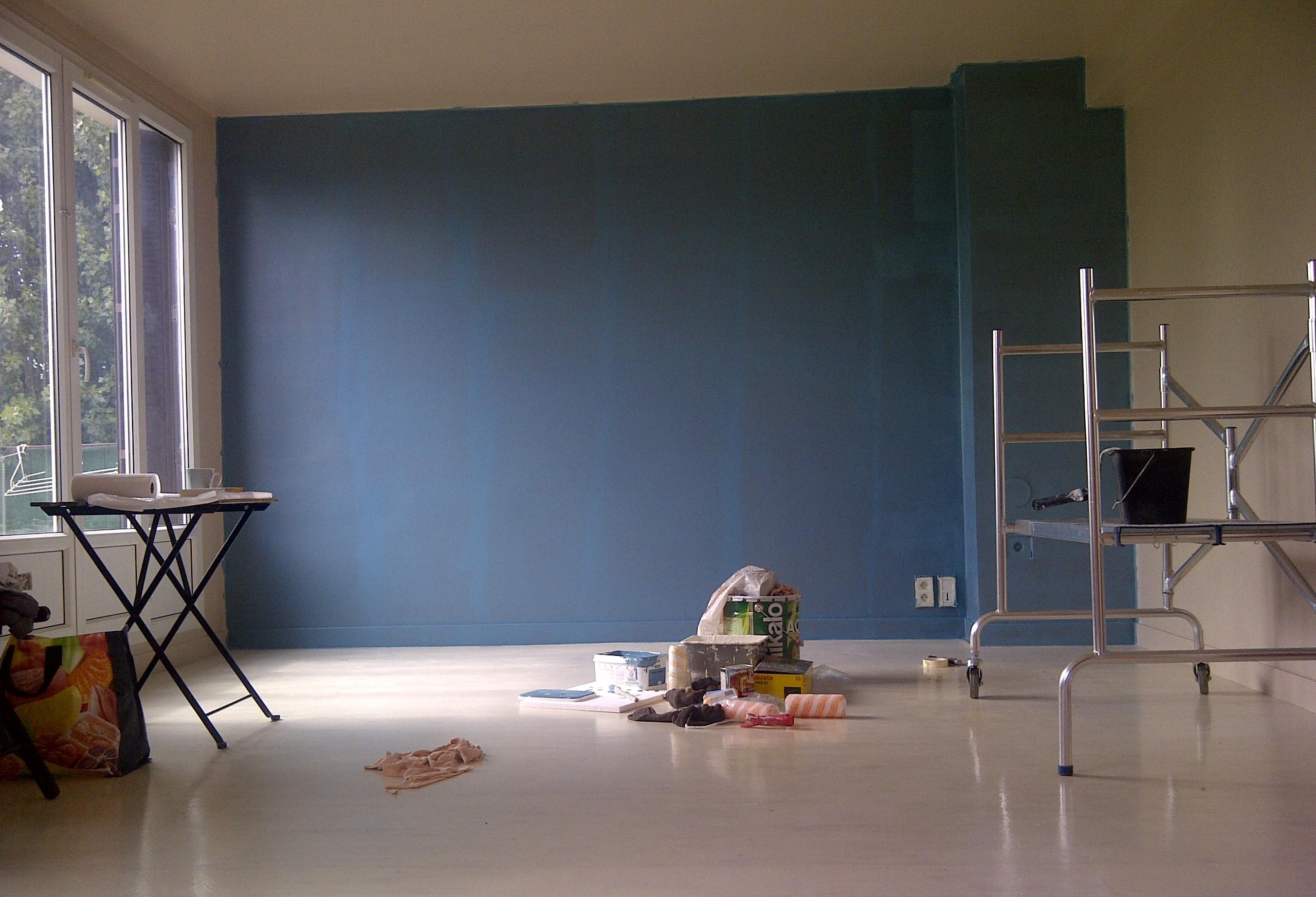 Cuisine peinte en bleu for Peinture bleu salon