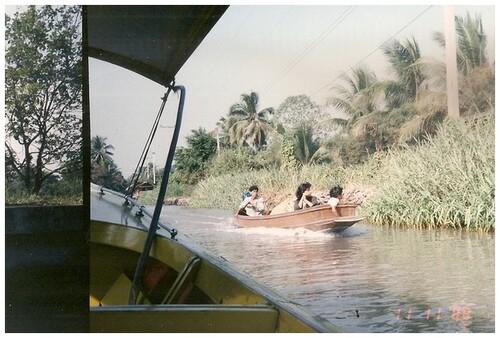 Déplacements ou transports fluviaux. Thaïlande 1988