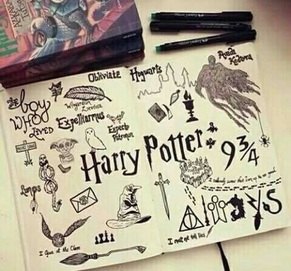 Image de harry potter, drawing, and book