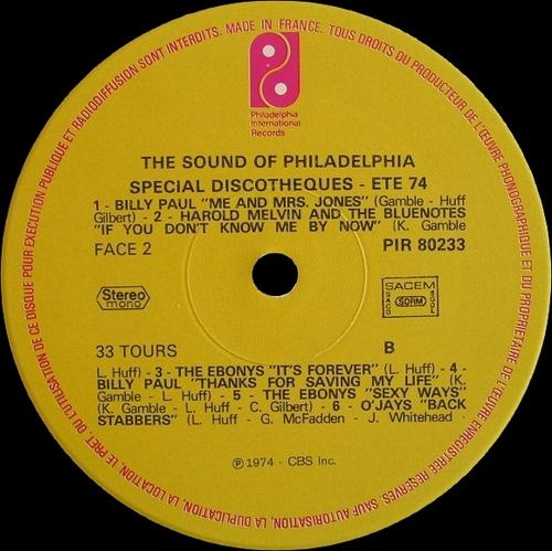 "Various Artists : Philadelphia Sound "" Special Discotheques Volume 1 "" Philadelphia International Records PIR 80233 [ FR ] en 1974"