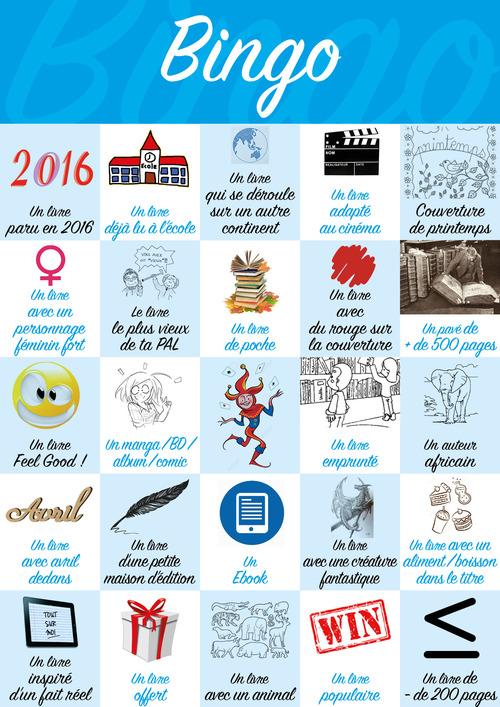 Bingo littéraire de printemps (du 20 mars au 20 juin 2017) sur Livraddict