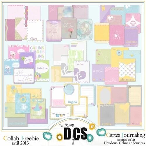 """Carte Journaling  """"Doudous, Câlins et Sourires"""" chez DCS"""