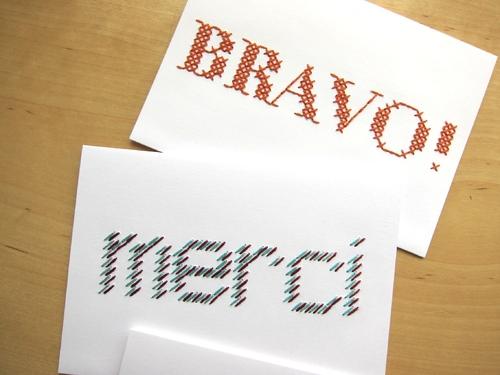 Deux cartes brodées à message