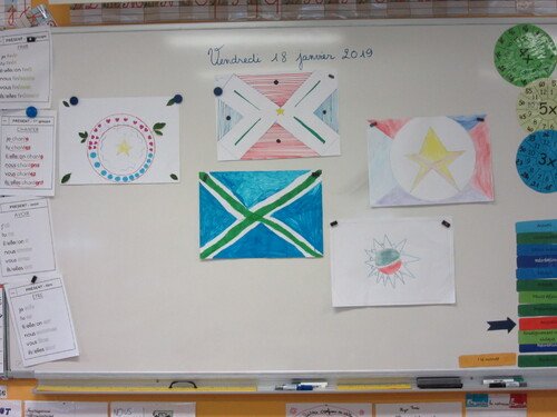 Colours and shapes in flags...