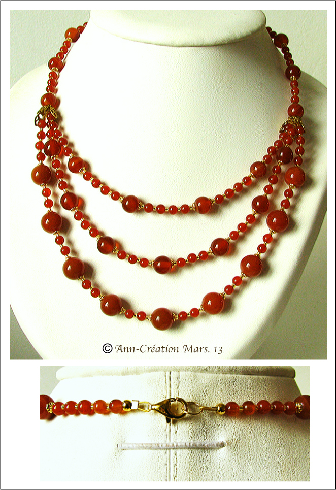Collier 3 rangs Cornaline - Plaqué Or & Vermeil / 3 rows Carnelian Necklace