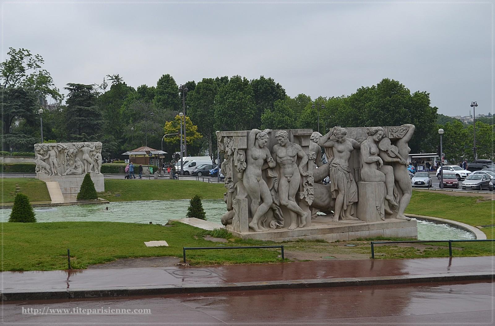 La tour eiffel le trocad ro et le champs de mars une for Jardin trocadero