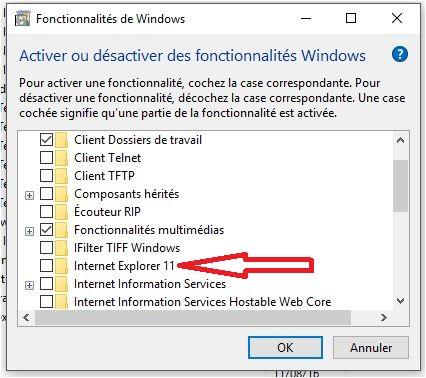 Windows 10 1607 activer internet Explorer