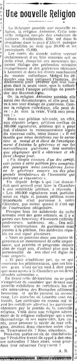 Une nouvelle Religion (La Fraternité, 11 déc 1910)