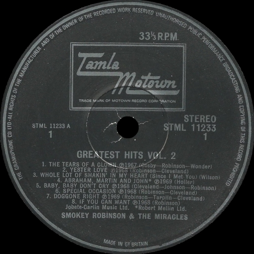 "Smokey Robinson & The Miracles : Album "" Greatest Hits-Vol. 02 "" Tamla Motown Records STML 11233 [ UK ]"
