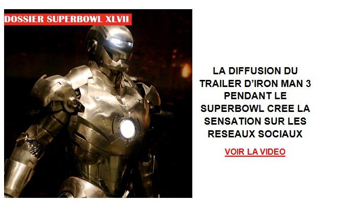 La diffusion du trailer d'Iron Man 3 pendant le Superbowl
