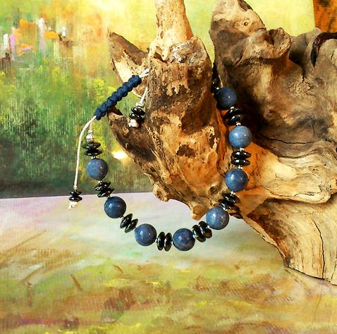 Bracelet Homme Coulissant macramé Corail bleu 10mm  et Hématite / Coton ciré et Plaqué argent