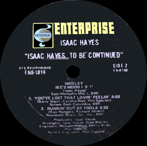 "Isaac Hayes : Album ""...To Be Continued "" Enterprise Records ENS-1014 [ US ]"