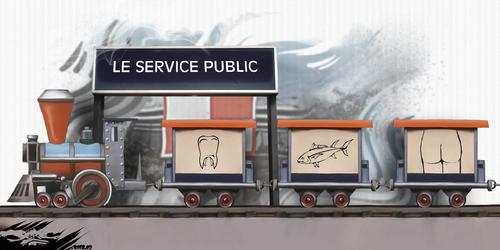 dessin de JERC du lundi 05 mars 2018 caricature le petit train de la mémoire de Maurice Brunot casse du service public Nationaliser les pertes et privatiser les profits www.facebook.com/jercdessin @de