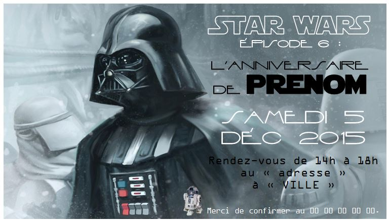 Carte Invitation Anniversaire Star Wars Gratuite Lighteam