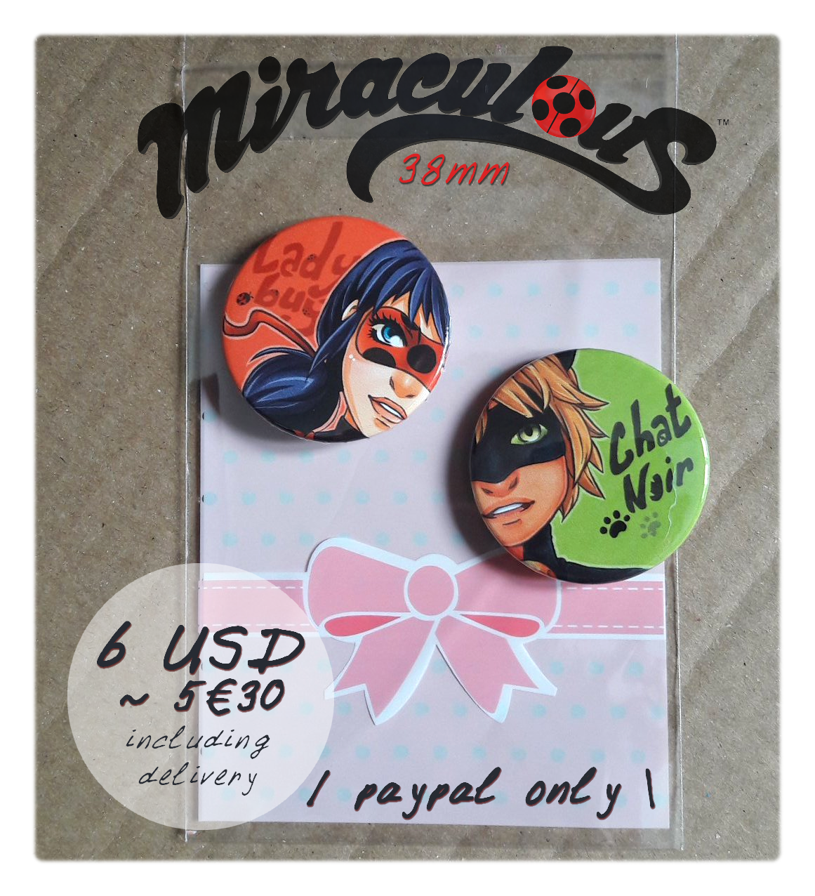 VENTE |  Miraculous ladybug button set