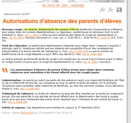 - Info pour les parents élus