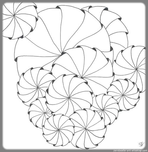 Coloriage zen : coquilles en vrac