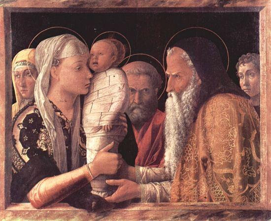 Présentation de Jésus au Temple. Peinture d'Andrea Mantegna (1465)