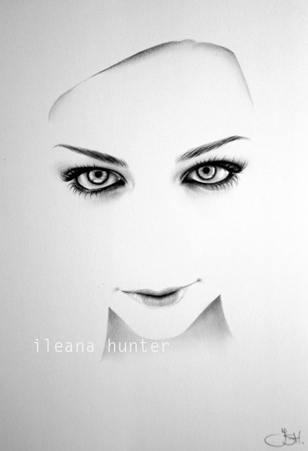 Amy Lee crayon dessin beaux-arts de minimalisme Portrait impression main signé