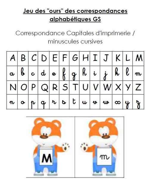 """Fiche de suivi """"les ours alphabétiques"""" GS"""