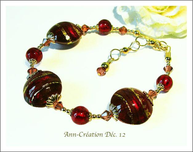 Bracelet Rouge Verre de Murano Authentique Feuille d'Or 24 Kt / Plaqué Or & Vermeil